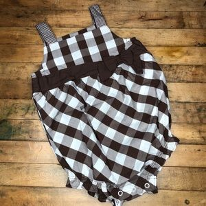 Carter's Brown & White Plaid Romper